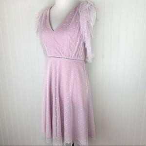 Gianni Bini lilac lavender polka dot tulle dress